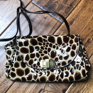 Hobo crossbody patent animal print purse
